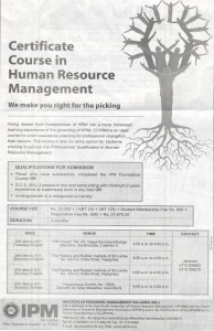 Certificate course in Human resource Management