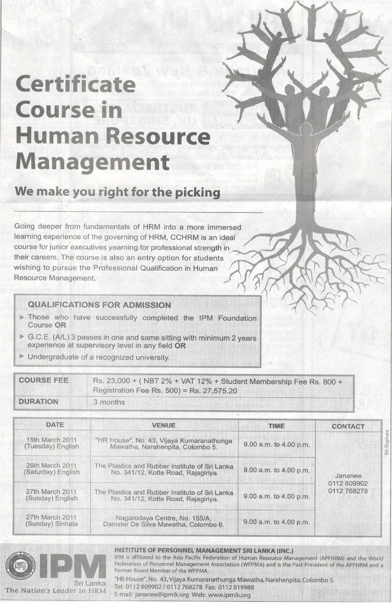 Certificate Course In Human Resource Management Ipm Synergyy