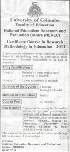 Certificate course in research methodology in education - 2011