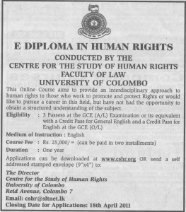E Diploma in Human Rights @ University of Colombo
