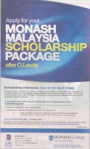 Monash Malaysia Scholarship Package
