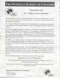 Scholarships 2011 - The Overseas School Of Colombo