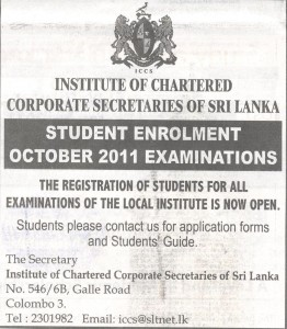 Institute of Chartered Corporate Secretaries of Sri Lanka calls student enrollment