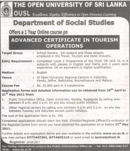 Advance Certificate inTourisum Operations OUSL