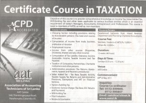 Certificate Course in Taxation AATSL