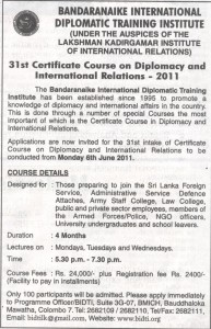 Certificate Course on Diplomacy and International Relations 2011