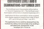 Certificate Level I and Level II Examination September 2011 –Chartered Accountants of Srilanka