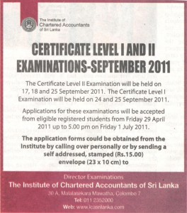 Chartered Accountants Certificate Level 1 and 2 Examinations September 2011