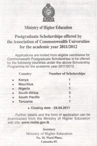 Postgraduate Scholarships of Commonwealth Universities