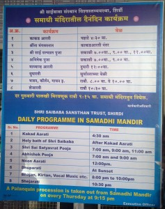 Daily Programmes of Shri Sai Baba Samadhi Mandir (Shirdi)