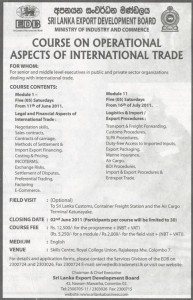 Course on Operational Aspects of international Trade – SL EDB