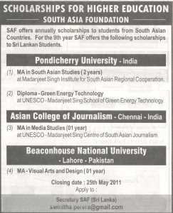 Scholarships for higher Education South Asia Foundation