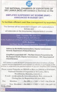 Seminar on Simplified Suspended Vat Scheme (SVAT) 2011