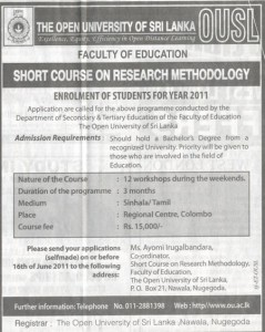 Short course on Research Methodology by Open University of Srilanka