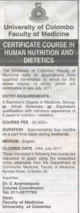 Certificate course in Human Nutrition and Dietetics @ University of Colombo