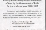 Indian Government Scholarships for Undergraduate / Postgraduate