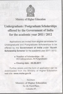 Indian Government Scholarships for Undergraduate & Postgraduate