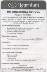 Learnium International School Full Scholarships for AL 2013