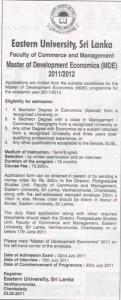 Master of Development Economic (MDE) – Eastern University of Srilanka