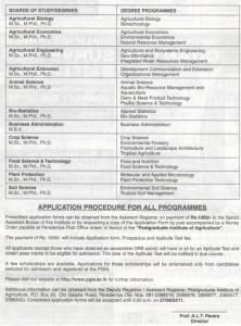 Postgraduate Institute of Agriculture (PGIA) University of Peradeniya Postgraduate Programmes 2011 2012