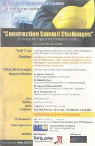Construction Summit Challenges in Srilanka