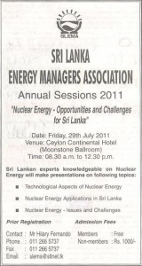 Nuclear Energy – Opportunity and Challenges for Srilanka
