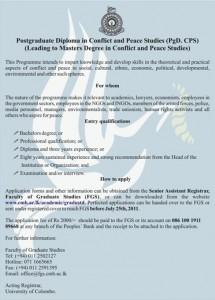 Postgraduate Diploma in Conflict and peace Studies by University of Colombo