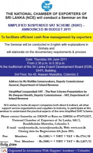 Simplified Suspended Vat Scheme (SVAT) Seminar by the National Chamber of Exporters of Srilanka (NCE)
