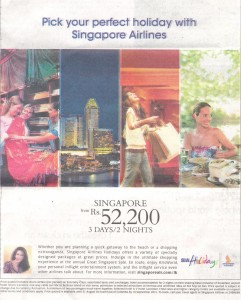 ingapore Airline Holidays package to Singapore for 3 Days-2 Nights at Rs.52, 200.00