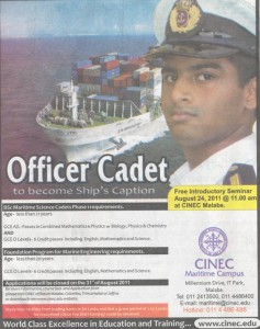 BSc Maritime Science Cadets by CINEC Maritime Campus
