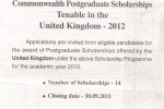 Commonwealth Postgraduate Scholarships in United Kingdom 2012 by Ministry of Higher Education