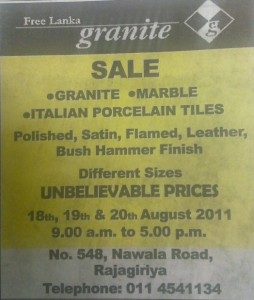 Free Lanka Granite Unbelievable Offers