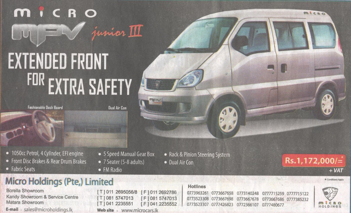 Micro Mpv Junior Iii Price Is Rs 1 475 000 All Inclusive Updated February 2015 171 Synergyy