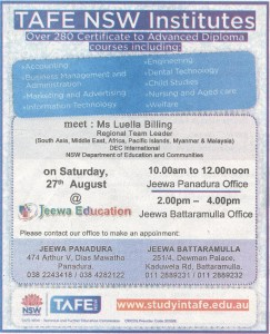 TAFE NEW Institutes through Jeewa Education