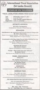 Taxation Seminar by International Fiscal Association – Srilanka