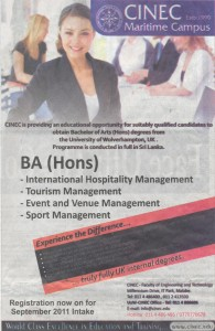 BA (Hons) Degrees for CINEC Maritime Campus