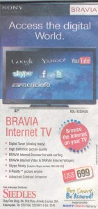 Bravia Internet TV @ USD 699