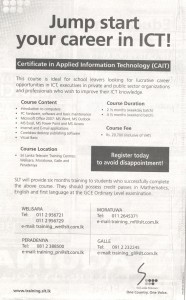 Certificate in Applied Information Technology (CAIT) by Srilanka Telecom