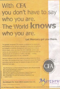 Chartered Financial Analyst (CFA) in Srilanka