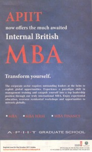 Internal British MBA from APIIT