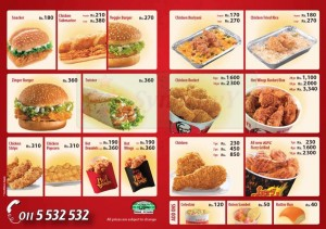 KFC Delivery Menu Pg1