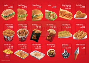 KFC Dine in Menu Pg 1