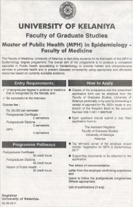 Master of Public Health (MPH) in Epidemiology by University of Kelaniya