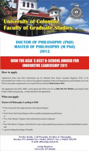 PhD and M Phil 2012 in University of Colombo
