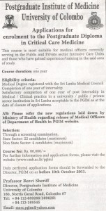 Postgraduate Diploma in Critical Care Medicine by University of Colombo