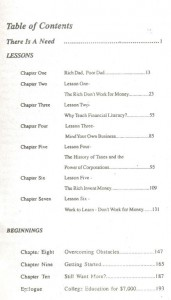 Rich Dad Poor Dad Book Contents