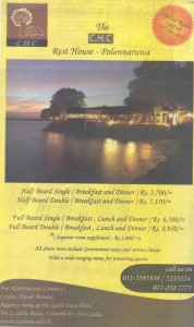 The Ceylon Hotels Corporation Introductory offer for Rest House – Polonnaruwa
