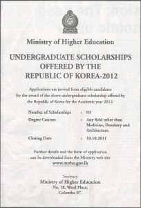 Undergraduate Scholarships offered by the Republic of Korea 2012