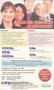 Workshop on Terms and Conditions of Employment by IPM Srilanka