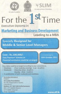 Executive Diploma in Marketing and Business Development BY Srilanka Foundation